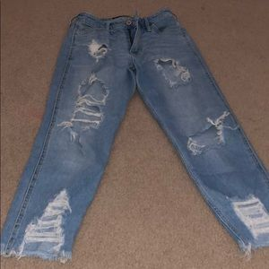 ripped high rise slim straight jean
